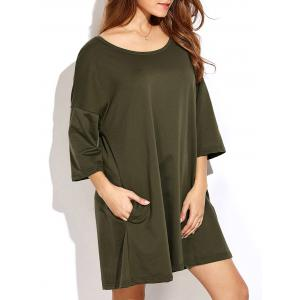 Slightly High Low Hem Relaxed T Shirt Dress - Army Green - 2xl