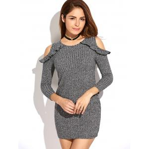 Cold Shoulder Bodycon Sweater Dress -