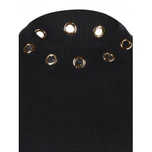 Ribbed Knitwear with Eyelet Embellished - BLACK XL