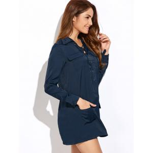 Lace-Up Loose Pockets Dress - BLUE 2XL