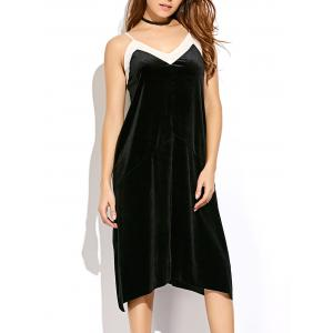Spaghetti Strap Velvet Slip Dress - Black - M