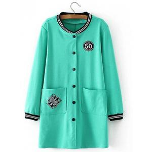 Plus Size Appliques Snap Button Coat
