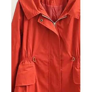 Plus Size Letter Embroidery Hooded Trench Coat -