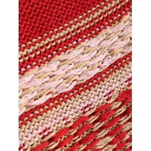 Asymmetrical Fringe Poncho Sweater - RED ONE SIZE