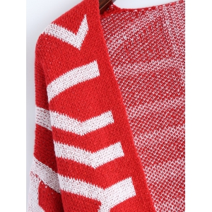 Fringe Graphic Open Cardigan - RED ONE SIZE