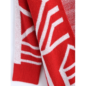 Fringe Graphic Open Long Cardigan - RED ONE SIZE