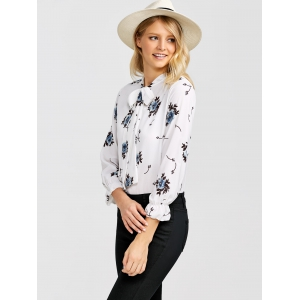Bow Tie Collar Floral Blouse -