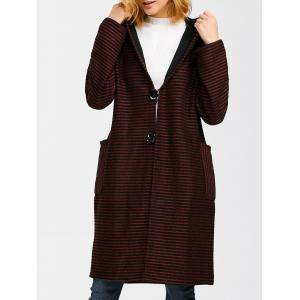 Hooded Striped Pocket Wrap Coat
