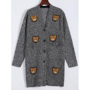 Bear Print Plus Size Button Up Cardigan