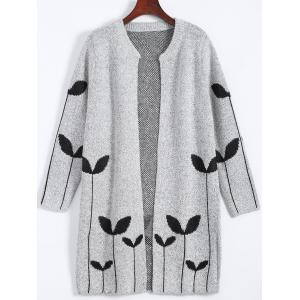 Graphic Open Cute Plus Size Cardigan - Light Gray - Xl