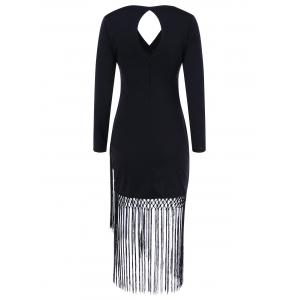 Long Sleeve Fringe Cut Out Bodycon Flapper Dress - BLACK XL