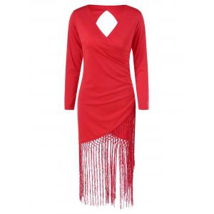 Long Sleeve Fringe Cut Out Bodycon Flapper Dress