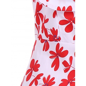 Patterned Midi Vintage Dress - RED/WHITE 4XL