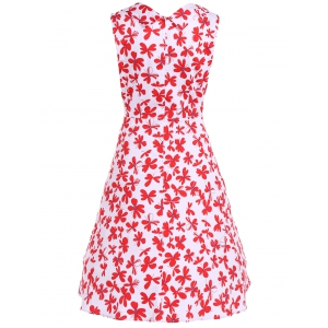 Patterned Midi Vintage Dress - RED AND WHITE 4XL