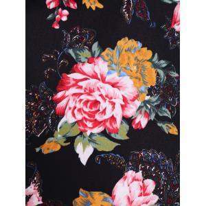 Floral Midi Retro Dress - BLACK 4XL