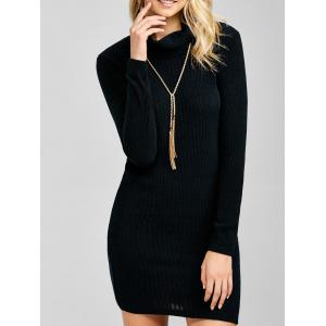 Ribbed Mini Cowl Neck Fitted Sweater Dress