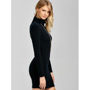 Ribbed Mini Cowl Neck Fitted Sweater Dress - BLACK XL