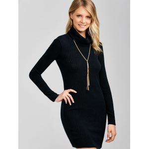 Ribbed Mini Cowl Neck Fitted Sweater Dress - BLACK S