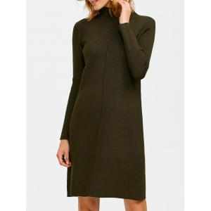 Knee Length Mock Neck Sweater Dress - Blackish Green - One Size