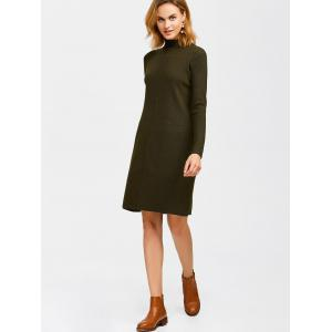 Knee Length Mock Neck Sweater Dress -