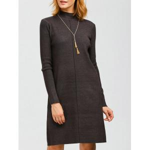 Knee Length Mock Neck Sweater Dress