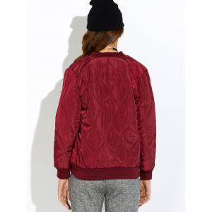 Padded Bomber Zip Up Jacket - WINE RED L