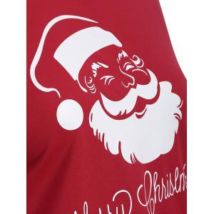 Skew Neck Santa Claus Print Longline Tee - RED 3XL