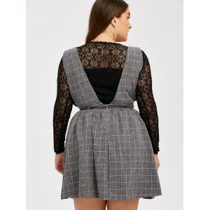 Lace Insert Hollow Out Blouse and Belted Plaid Skirt - DEEP GRAY 5XL