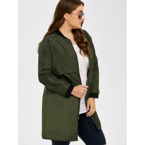 Armband Design Zipper Fly Long Trench Coat - ARMY GREEN XL