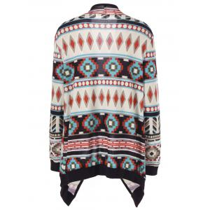Plus Size Contrast Trim Tribal Cardigan - COLORMIX 2XL