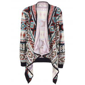 Plus Size Contrast Trim Tribal Cardigan - Colormix - 4xl
