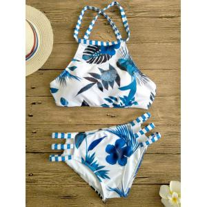 Printed Cut Out High Neck Swimsuit Bikini - BLUE AND WHITE L