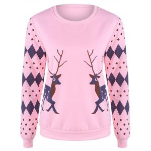 Rhombus and Deer Print Flocking Sweatshirt - Pink - 2xl