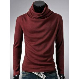 Cowl Neck Thermal Plain T-Shirt - Burgundy - M