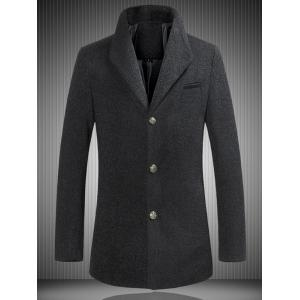 Stand Collar Single Breasted Woolen Coat - Black - M