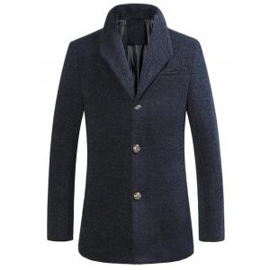 Stand Collar Single Breasted Woolen Coat