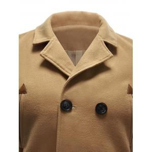 Back Vent Pocket Wool Blend Pea Coat - KHAKI XL