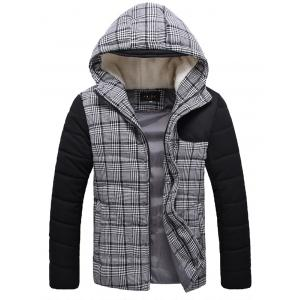 Zippered Plaid Flocking Hooded Padded Jacket