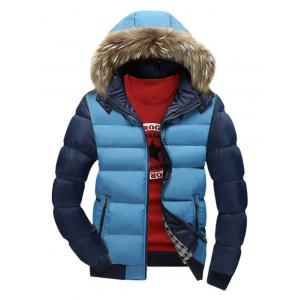 Zip Pocket Color Insert Faux Fur Hooded Padded Jacket