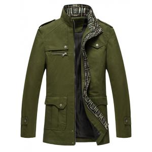 Pocket Epaulet Design Zip Up Jacket