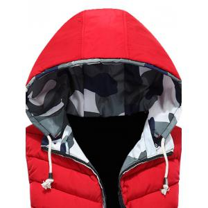 Camouflage Trim Hooded Vest - RED 3XL