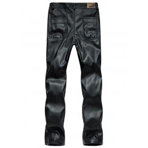 Zipper Cuff Faux Leather Flocking Pants -