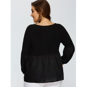 Puff Sleeve Knitted Insert Blouse - BLACK 4XL