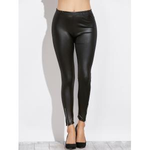 Side Zippers Faux Leather Pants -