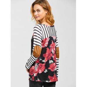Floral Elbow Sleeve Casual T-Shirt - BLACK XL