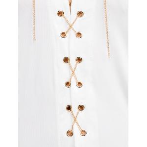 Criss Cross Chain Plunging T-Shirt - WHITE XL