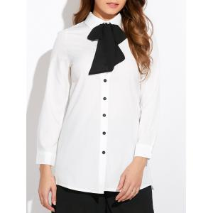 Pussy Bow Neck Shirt - White - 2xl