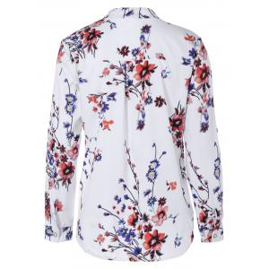 Floral Print V Neck Tunic Blouse -