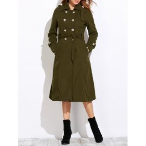 Belted Double Breasted Long Coat - Army Green - M