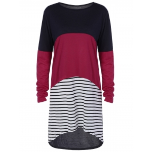 Color Block Long Sleeve Striped T-Shirt High Low Dress - Colormix - M